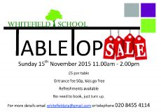 Table Top Sale 15th November