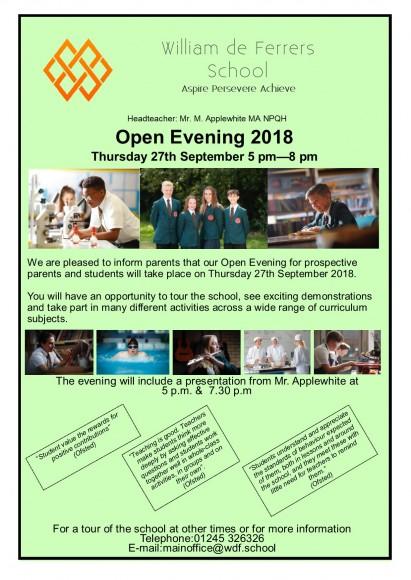 Open Evening Advert 2018