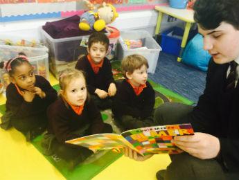 Wren secondary students help in Primary